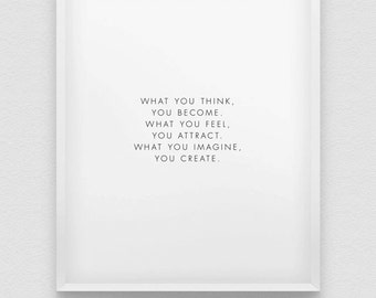positive thinking print // motivational poster // inspirational black and white home decor // affirmation print // what you think you become