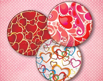 "Hearts Patterns collage sheet printable Valentine digital toppers cupcake download 2 inch 2.25"" 2.5"" pocket mirror images bottle cap circles"
