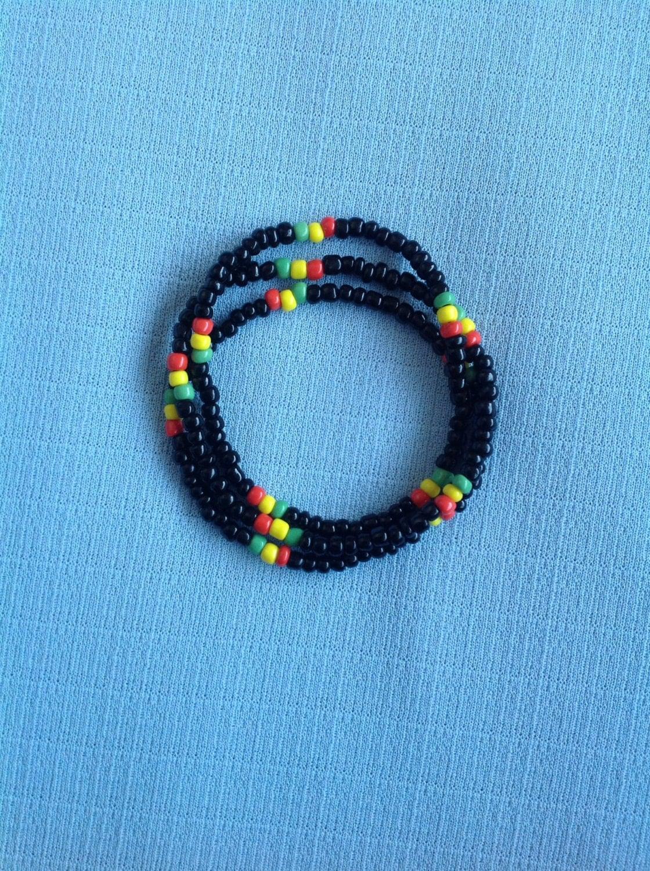 afrocentric bangles rasta seed bead bracelet set of 3