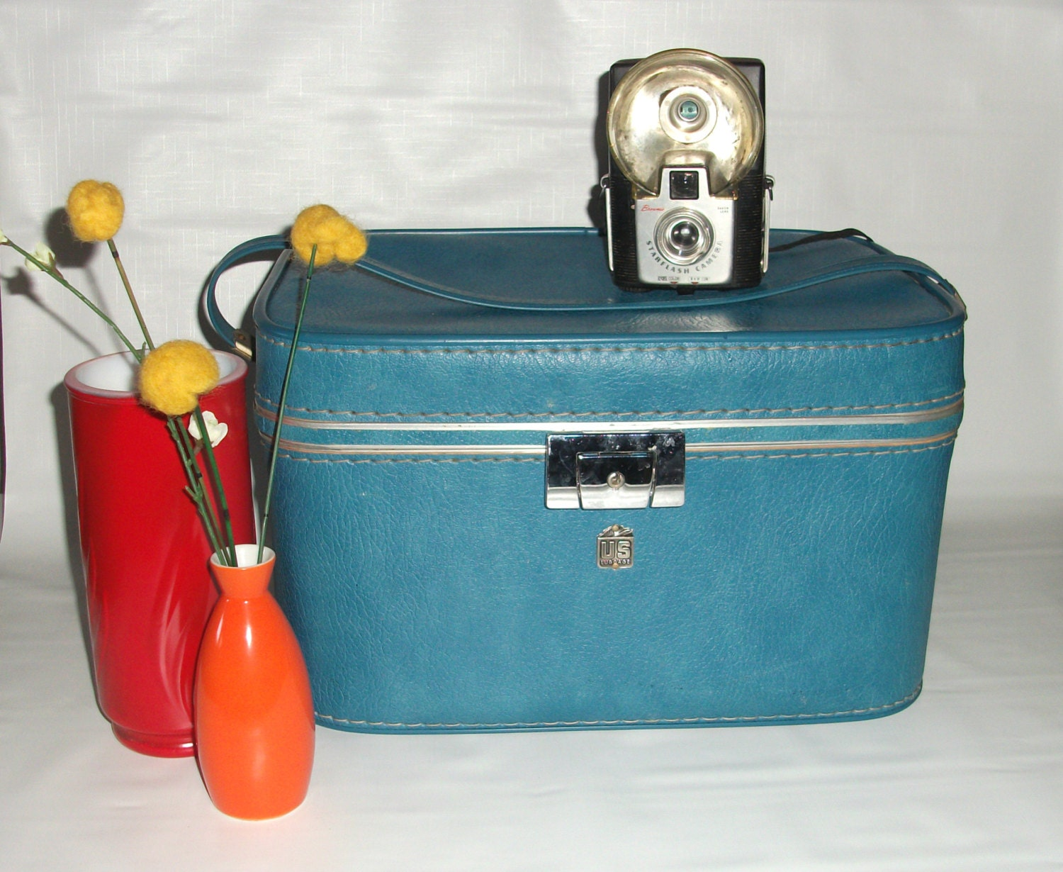 Vintage train case retro luggage carry
