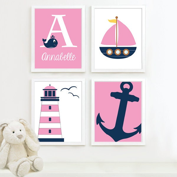 baby girl nursery art girl nautical nursery decor nautical. Black Bedroom Furniture Sets. Home Design Ideas