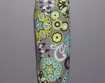 Grocery Bag Holder - Plastic Bag Holder - Bag Dispenser - Splendid Paisley- Gray, Lime Green, Turquoise, Brown