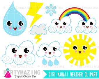Weather Clipart Set, Kawaii Weather Report, Clipart Planner, cute Clip Art Graphic Set, Instant Download -D151