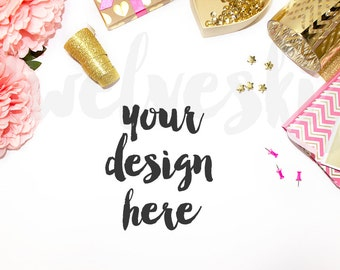 Styled Stock Photography / Pink and Gold / Stylish Stock Photo / Scene / Product Mockup / Photography Background / Flower / High Res File