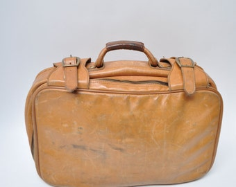 vintage luggage LEATHER SUITCASE carry on bag 1970s