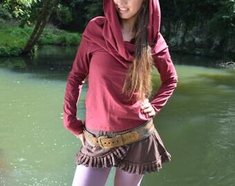 Wanderer Cowl Neck Long Sleeved Hoodie, Hoodie Top, Cowl Neck Top, Warm Top, Psytrance, Goa, Doof, Festival Clothing, Pixie Top.
