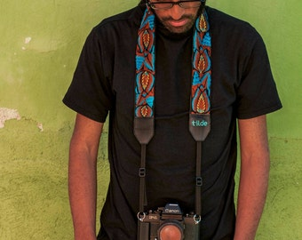 Gift for photographer, Leather camera strap, DSLR camera strap, Gift for him, Canon camera strap, Nikon camera strap - Turquoise Brown TUC7