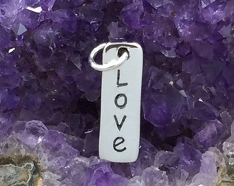 Love Charm, Love Tag, Sterling Silver Charm, Sterling Silver Love Tag, Sterling Silver Vertical Love Tag, PS01273