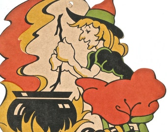 Vintage Halloween die cut witch and cauldron digital download printable image 300 dpi