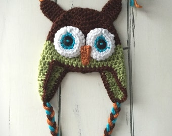 Owl Hat - Brown & Green