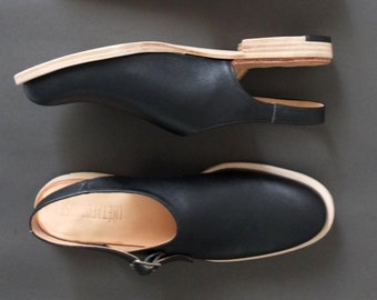 Handmade to order- wood stacked heel slip-on mules