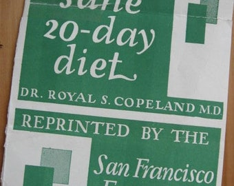 1920's 1930's Dr. Senator Royal S Copeland Diet from San Francisco Examiner Paper Medical Ephemera - Prudence Penny America Housewife