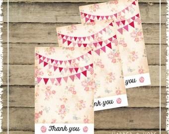 Vintage Girl 1st Birthday Thank you notes Printables - Liberty Birthday Invitations - Printable Thank you notes