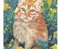 Kitten garden print  8x10 original watercolor work blue eyed orange tabby in the marigolds art print