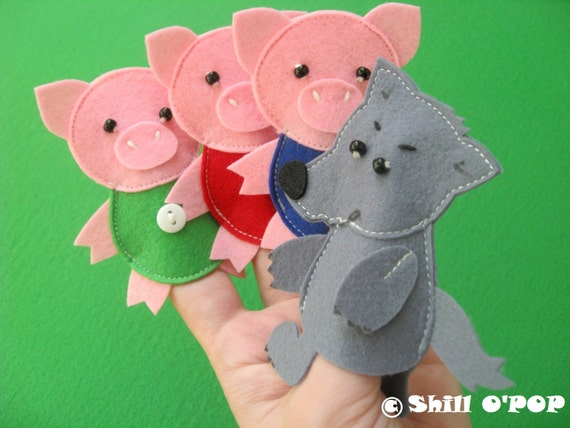 The three little pigs felt finger puppet toys pdf by shillopop for Pig puppet template