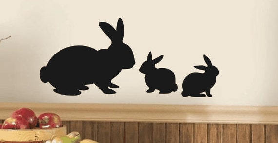 Rabbit Family Silhouette Vinyl Wall Decal Bunny Wall