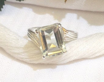 Sparkling Emerald Cut Green Amethyst Ring ~ 925 Sterling Silver ~ Size 7