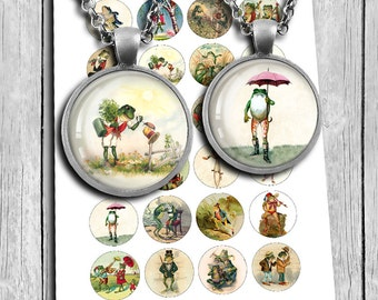 Frogs Digital Collage Sheet 20mm 25mm 1 inch 30mm 1.5 inch Circle Bottle cap images, Printable Images - Instant Download