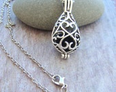 Filigree Teardrop Essential Oil Diffuser necklace, Aromatherapy Necklace