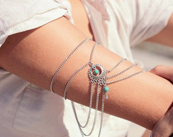 armlet upper armchain arm antique silver turquoise beads boho bohemian hippie ethno
