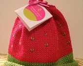 Watermelon / Strawberry Knitted Newborn Baby Hat with Embroidery (Green Fruit Seeds)~Best Baby Gift, Hand-Knit, Cotton