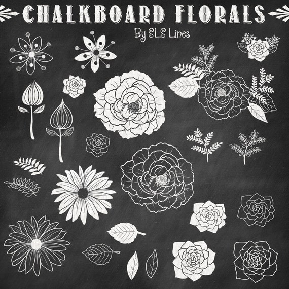 Flower Wall Decor Reversible Mosaic With Chalkboard: Chalkboard Florals, Flowers And Leaves, Clip Art Hand