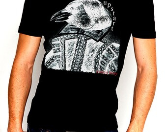 Upstart Crow Negative Print Mens Cotton T-Shirt William Shakespeare Original Line Drawing Illustrated  *Sizes S - 5XL*