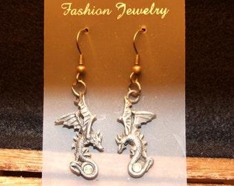 Dragon Power, Dark Silver Metal Dragon with a Crystal Earrings