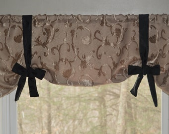 Window Treatment, Tie Up Valance, Tan and Black Valance, Swag Valance, Modern Chic Valance