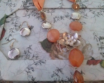 Flower necklace orange and silver glass flower embedded charm pendant silver plated necklace