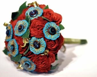 Gypsy style bouquet / alternative wedding flowers / Felt button bouquet / everlasting bouquet / handmade bouquet / unique / embroidered
