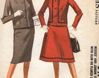 Vintage 1960s McCall's Sewing Pattern 6476 - Misses' Two - Piece Suit size 16 bust 36""