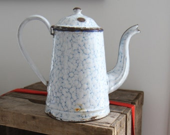 Teapot, kettle red enamel, handle and lide