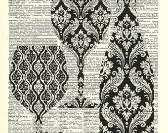 Wine Damask art print. Vintage dictionary page art print. Print on book page.