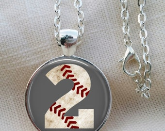 Personalized Baseball Necklace, Sports Necklace, Mother's Baseball Necklace, Sports Number Necklace