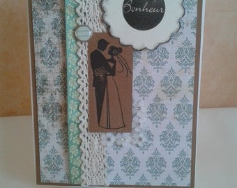 Handmade green and brown wedding card, Happiness message, blank inside, by Dancing under a Rainbow