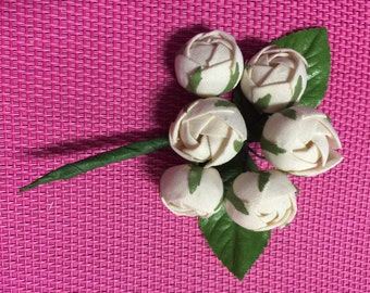 Vintage White Rose Boutonniere,Rose Boutonniere, Groomsmen Wedding Boutonniere, Men's Boutonniere.