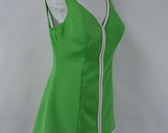 1960s Vintage Cole of California Green & White One Piece Bathing Suit, Cole of California Swimsuit, Vintage Swimsuit, 1960, 1960s, Swimsuit