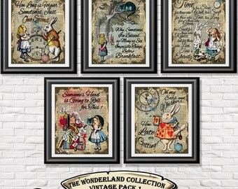 alice in wonderland poster prints 5 vintage alice art printed onto old dictionary book pages - Prints On Old Book Pages