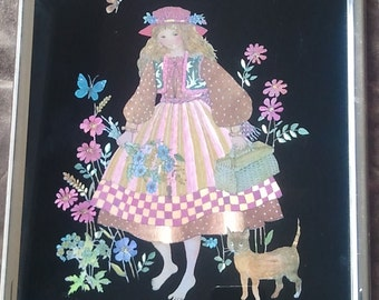 vintage 1980s Kafka Ind foil art picture girl with cat and flowers
