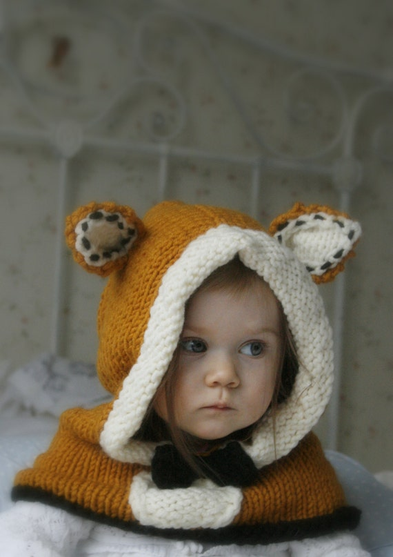 Knitting Pattern Fox Hood : KNITTING PATTERN fox hood Roxy knitted flat (baby, toddler ...