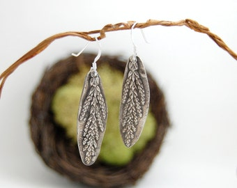 Textured cedar sprig earrings *nature-inspired jewelry*