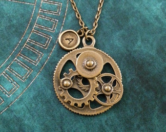 Gears Necklace Gear Jewelry Steampunk Jewelry Personalized Jewelry Steampunk Necklace Gear Necklace Gears Gift Steampunk Gift Brass Necklace