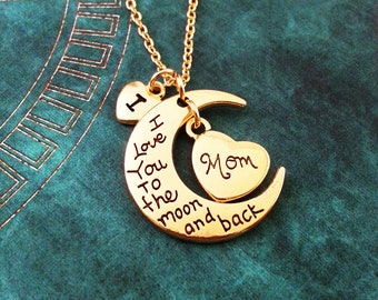 I Love You to the Moon and Back Necklace Mother's Day Necklace Moon Jewelry Gift for Mom Daughter Necklace Mom Necklace Mother's Day Gift