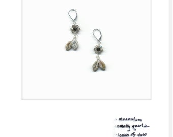 mariBloom earrings – iceybloom_01:moonstone and smoky quartz; sterling silver; handmade one of a kind