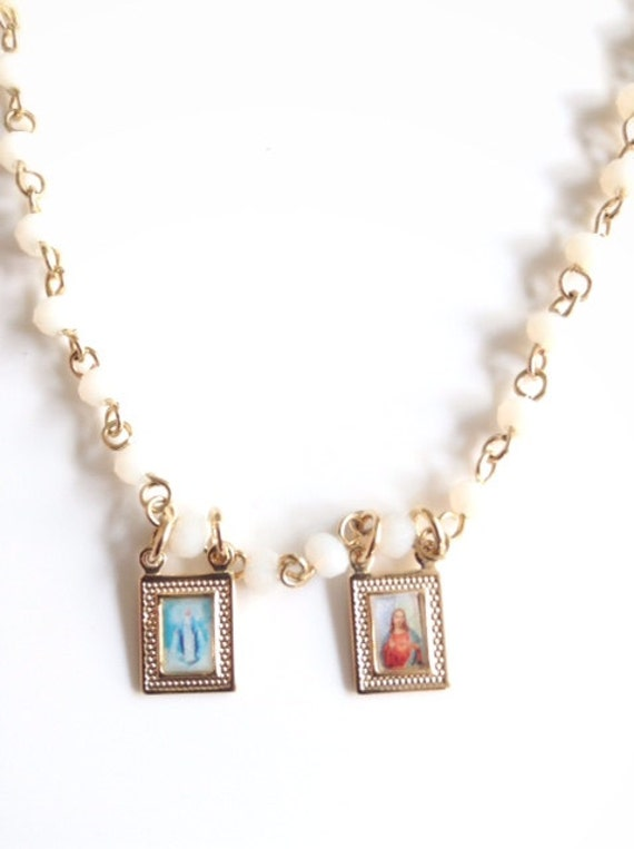 catholic scapular necklace white rosary gold