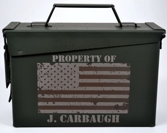 Personalized Ammo Box - American Flag Design - Precison Engraved & 100% Made in USA to Mil Spec.-NEW! Now w/Foam Insert and Locking Options!