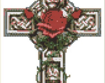 CROSS STITCH KIT - celtic Cross 14cm x 19 cm