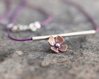 Purple Flower On Tube Pendant Brass Flower On Sterling Silver Tube Elegant Romantic Dainty Nature Inspired Handmade Jewelry