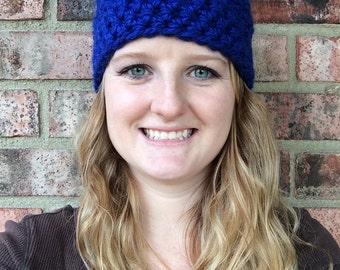 Crochet beanie hat, royal blue, crochet hat cozy warm